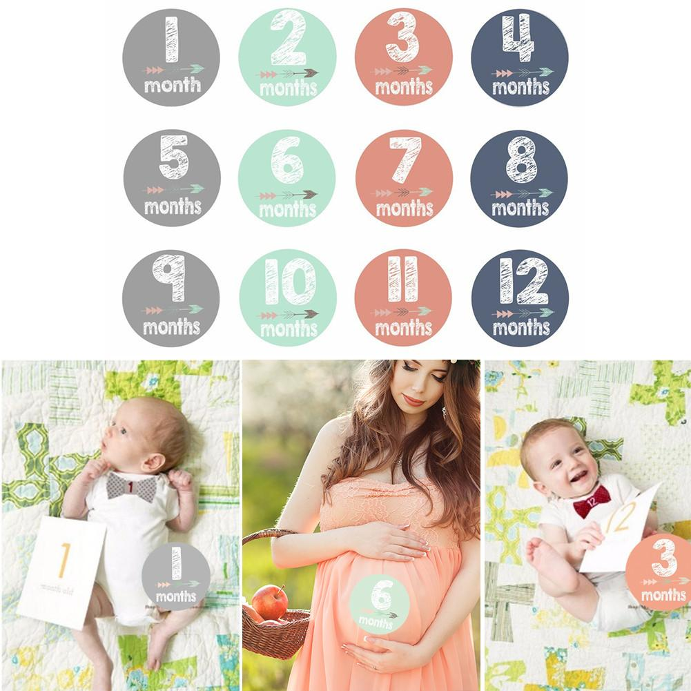 12 PCS/Set Newborn Month Sticker Pregnant Women Baby Photo Prop High Quality Stain-resistant Gilded Adhesive Sticker ...