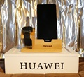 Para a apple watch/para huawei watch doca de carregamento suporte do telefone de madeira de bambu suporte para iphone 6 6 s plus/a8 a5 neo com slot para cartão