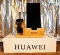 Para apple watch/para huawei watch muelle de carga soporte de teléfono de madera de bambú soporte para iphone 6 6 s plus/a8 a5 neo con ranura para tarjeta