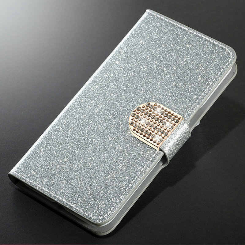 Luxury Fashion Sparkling Case For Huawei Honor 7 8 9 10 lite 8C 5C Cover Flip Book Wallet Design