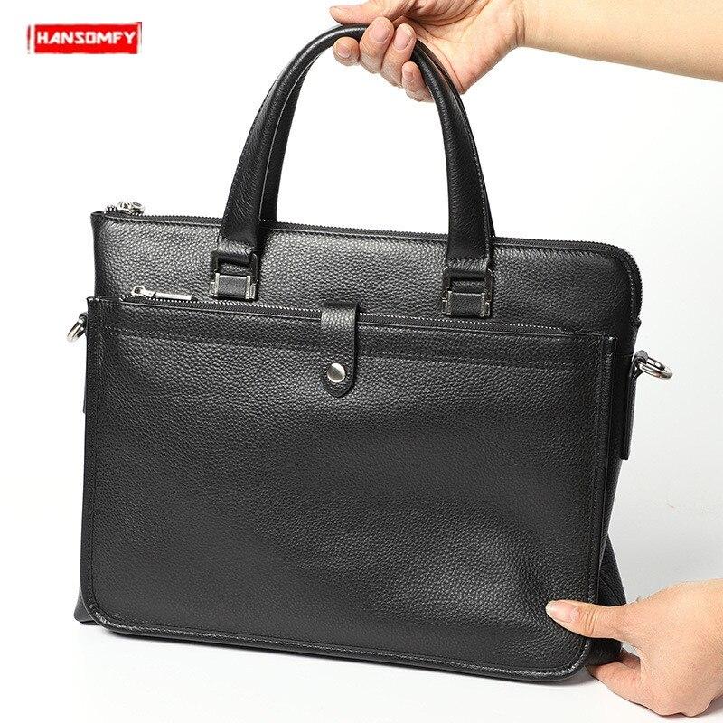 BJYL New Genuine Leather Men Handbags Business Briefcase Computer Bag Men Soft Black Leather 14