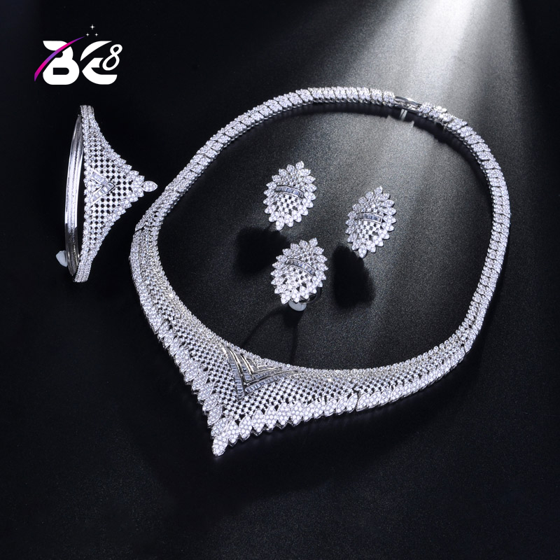 Be 8 Luxury AAA Cubic Zirconia Nigeria Necklace Earring Set Bangle Ring Nigerian Bride Jewelry Sets for Women Wedding S185Be 8 Luxury AAA Cubic Zirconia Nigeria Necklace Earring Set Bangle Ring Nigerian Bride Jewelry Sets for Women Wedding S185