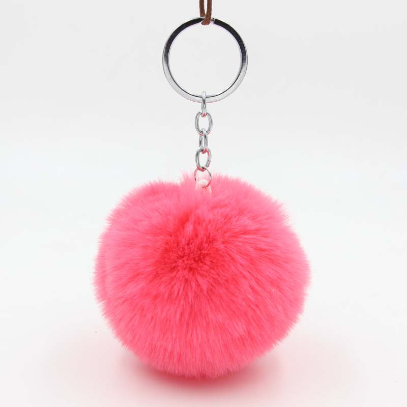 Womens Fur Ball Keychain Fluffy Rex Rabbit Pom Pom Keychain Holder Women Bag Keyring Charms Pendant Handbag Acessories Llaveros