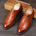 New Fashion Stylist 2016 Men Brogues Oxfords Alligator Italian Men Dress Shoes Genuine Leather Pointed Toe Lace-Up Wedding Shoe