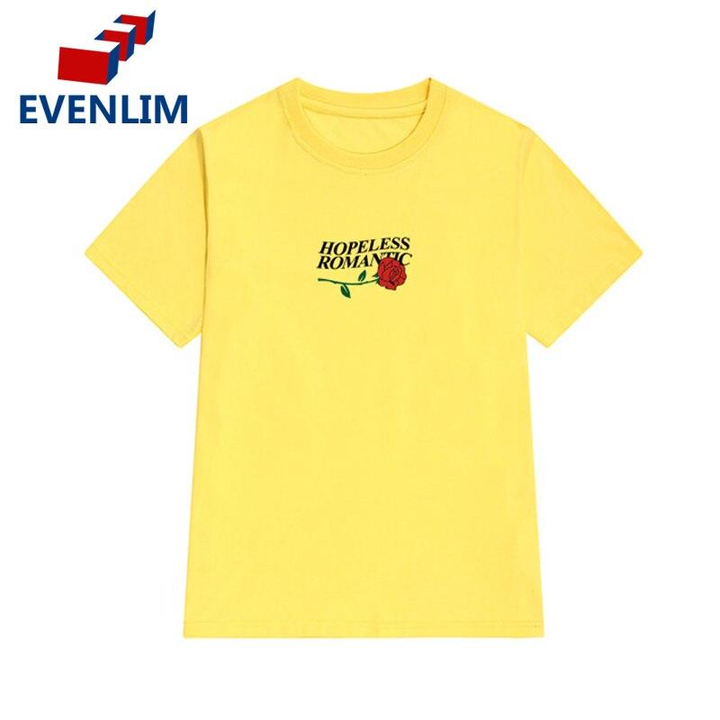 EVENLIM 100 Pure Cotton t shirt Harajuku T Shirt Women Summer 2017 Rose Funny T shirt