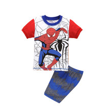 Boys summer Clothes Spiderman boy clothing set 2016 Summer Cotton Pajamas for Kids Pijamas 2T-7T