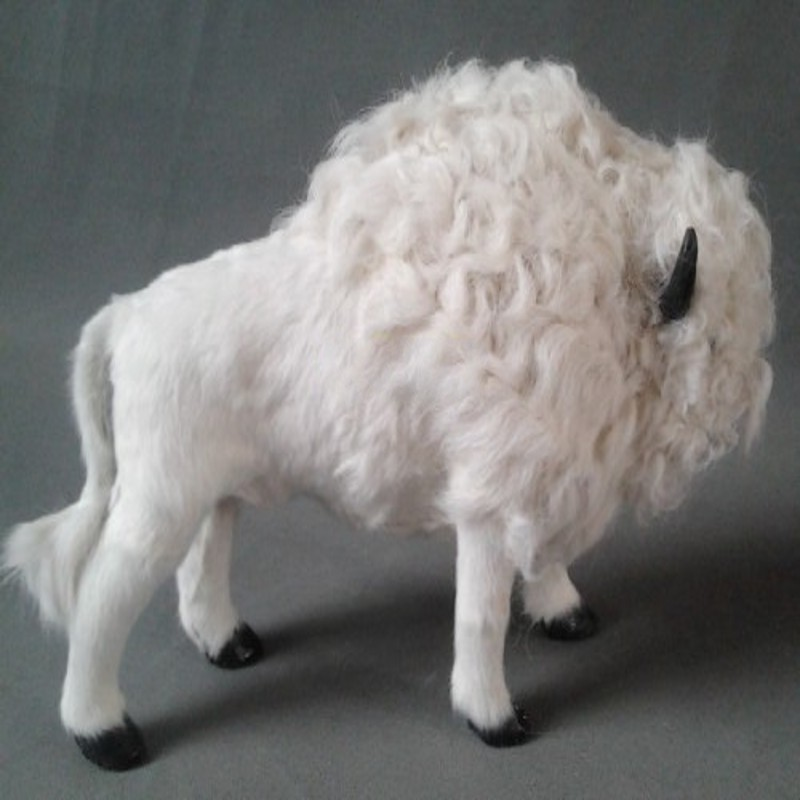 new simulation cow toy lifelike handicraft white bison doll gift about 35x21cm new simulation yellow cat lifelike handicraft lying cat doll gift about 25x11x20cm
