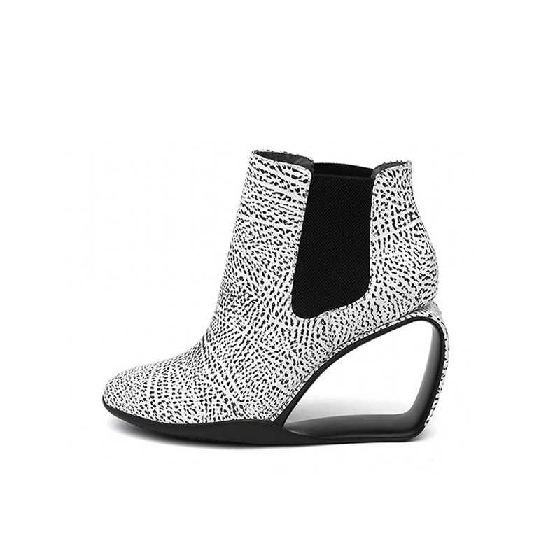 Mùa Thu Giày Cho Nữ Khoét Hở Gót Nữ Mắt Cá Chân Giày Slip On Nêm Đen Giày Bốt Nữ Da Thật Chính Hãng Da HL109 Muyisexi