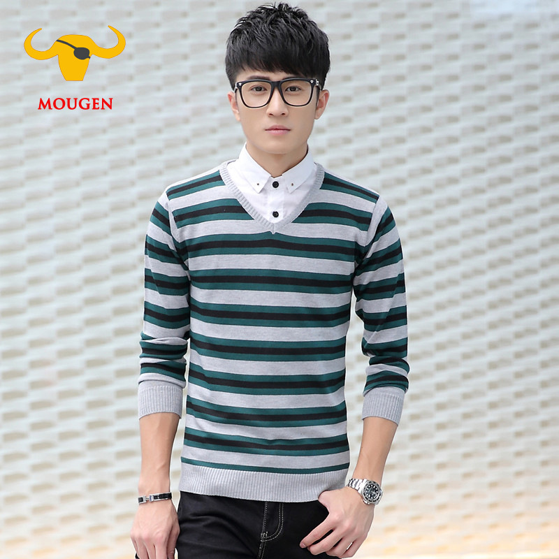 Shirt Collar Mens Striped Sweater Cotton V Neck Pullover Men ...