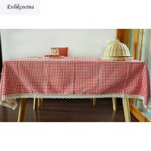 Envío gratis de estilo chino rojo a cuadros de tela de lino de algodón de encaje Mantel para Mesa de comedor cubierta de la cocina de la casa decoración Mantel Mesa