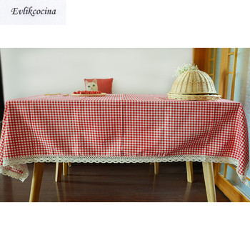 Free Shipping Chinese Style Red Plaid Table Cloth Cotton Linen Lace Tablecloth Dining Table Cover Kitchen Home Decor Mantel Mesa simanfei linen table cloth country style plaid print stylish rectangle table cover tablecloth home kitchen decoration