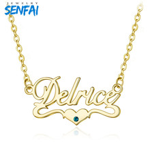Senfai Custom Name with Birthstone Necklaces Personalized Customized Name Romantic Heart Pendant Necklace Choker for Women women gold necklaces custom name engraving necklace love heart collar birthstone chain jewelery christmas day gift for mother