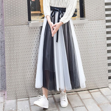 1pcs Elastic Hight waist skirts Womens Pleated 2019 Autumn mesh color Splicing Long skirt Ladies Skinny