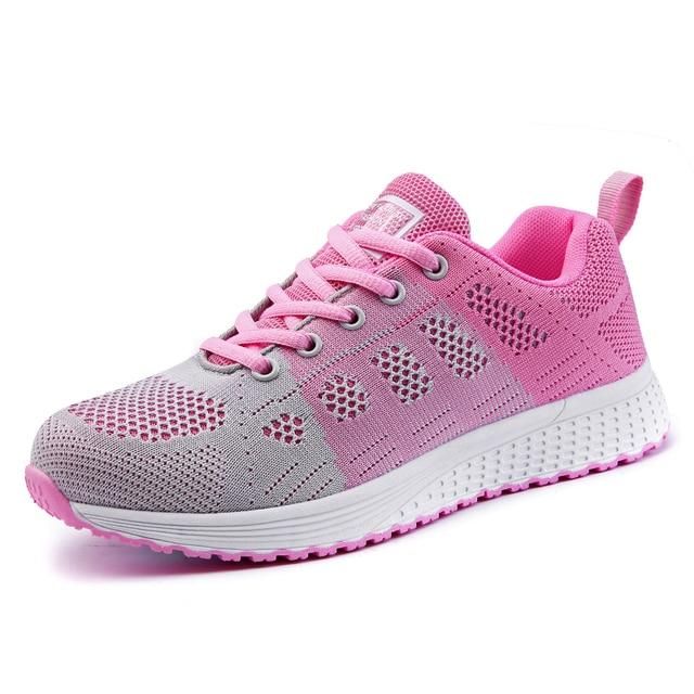 2019 tenis feminino branco vulcanizado sapatos femininos sapatos casuais moda respirável andando malha rendas até sapatos lisos 4