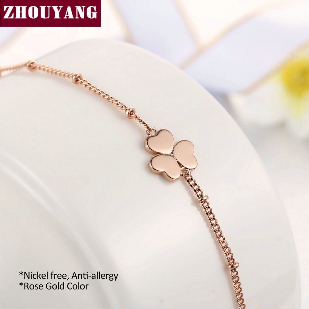 Heart Clover Charming Bracelet Rose Gold Color Jewelry Party Wedding Gift For Women Wholesale Top Quality H142