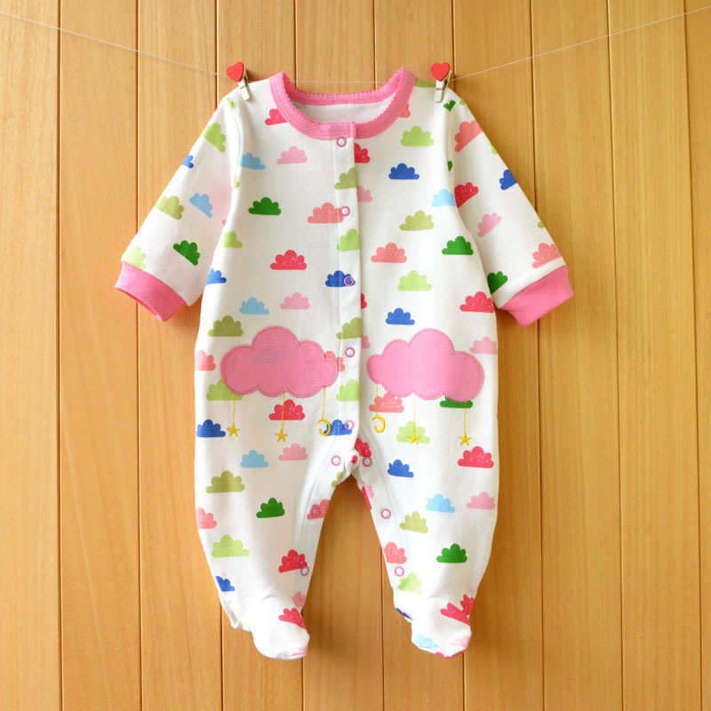 2017 New Fresh baby rompers cotton 100% girls clothes long sleeve romper Baby Jumpsuit newborn baby Clothing Packed feet romper 2017 new baby romper 100