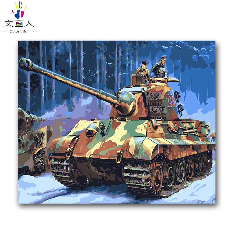 Military type tanks oil painting by numbers with kits diy on canvas draw picture paint by number for hoom room wall decor framed