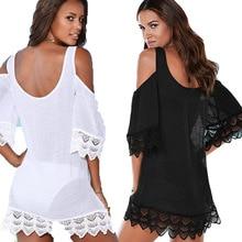 Kaftan Tunic Beach Dress Women Bikini Swim Cover Ups Summer Swimsuit Cover Up Lace White Dresses Pareo Cover-ups все цены