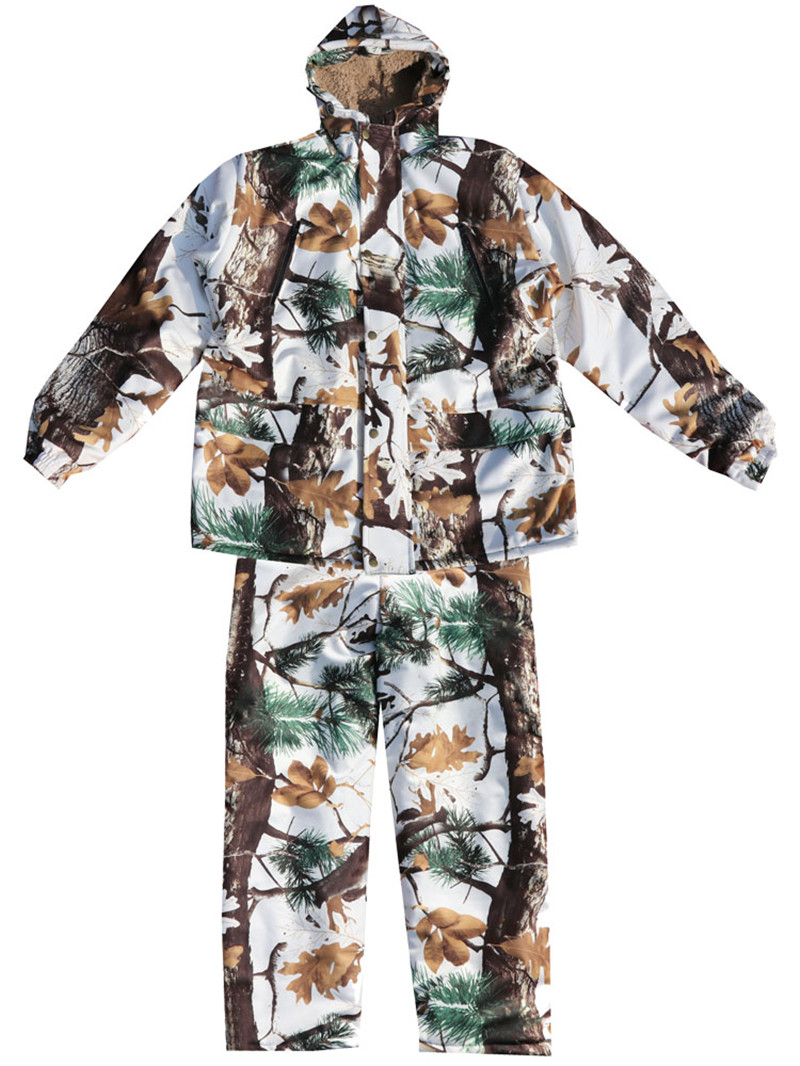 Image 3 - Cold Weather Thicken Lining Fleece Pine camouflage Snow Bionic  Hunting Coat Jacket and trousers Winter Waterproof Ghillie SuitsHunting  Coats