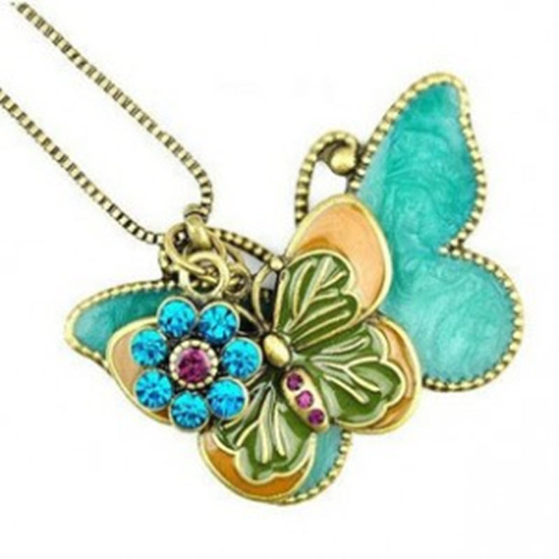 Special @ Flying Butterfly Long European and American vintage style necklace / sweater chain for women Free shipping
