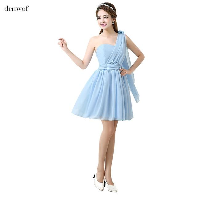 2017 New Chiffon Bridesmaid Dresses One Shoulder Sleeveless Junior ...