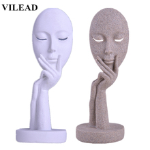 VILEAD Nature Sandstone White Abstract Mask Figurines Miniatures Sand Europe Statuettes New Year Christmas Decoration Gifts
