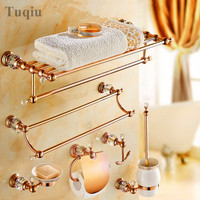 Brass material with diamond rose gold bath accessories,Paper Holder,Towel Bar,Soap basket,towel rack,hook bathroom Hardware set
