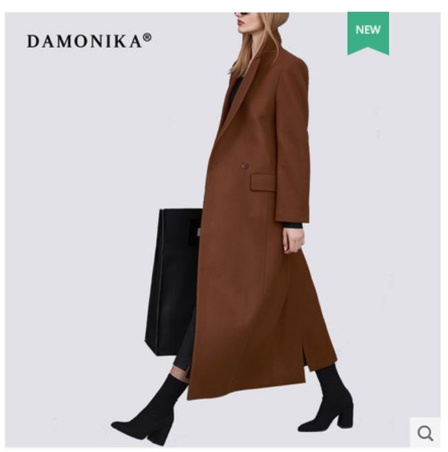 Women's autumn/winter 2018 fashionable overcoat new double-sided cashmere over-knee Hepburn style woollen overcoat women's long