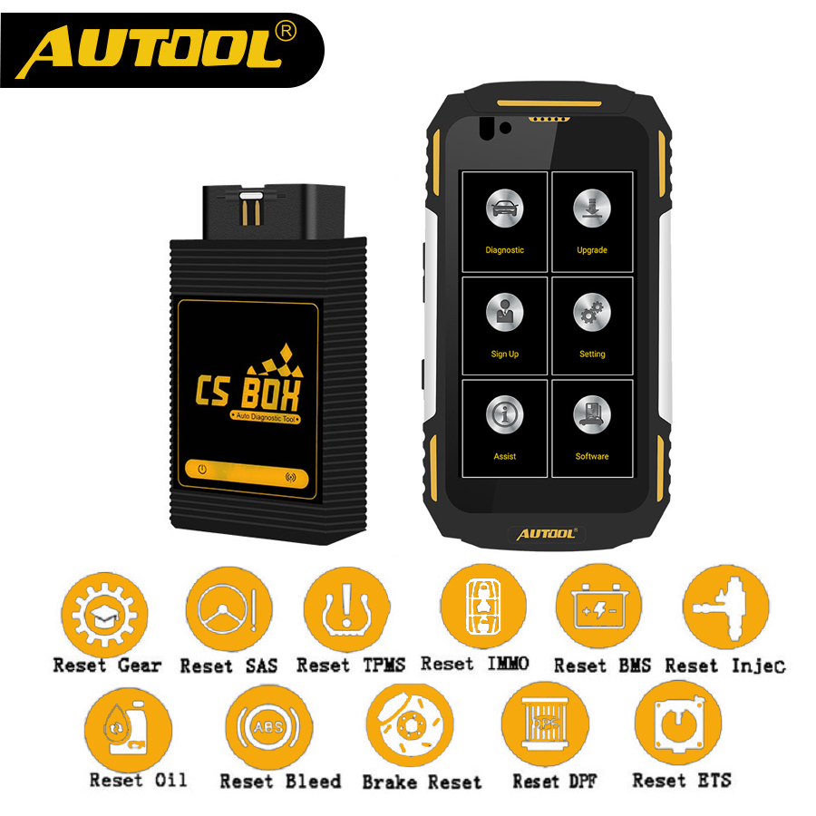 AUTOOL CS BOX Pro Mdiag Easy Diag Airbag OBD2 Scanner Bluetooth Multi System Diagnostic IP67 Water Dust Shock Proof Free Phone