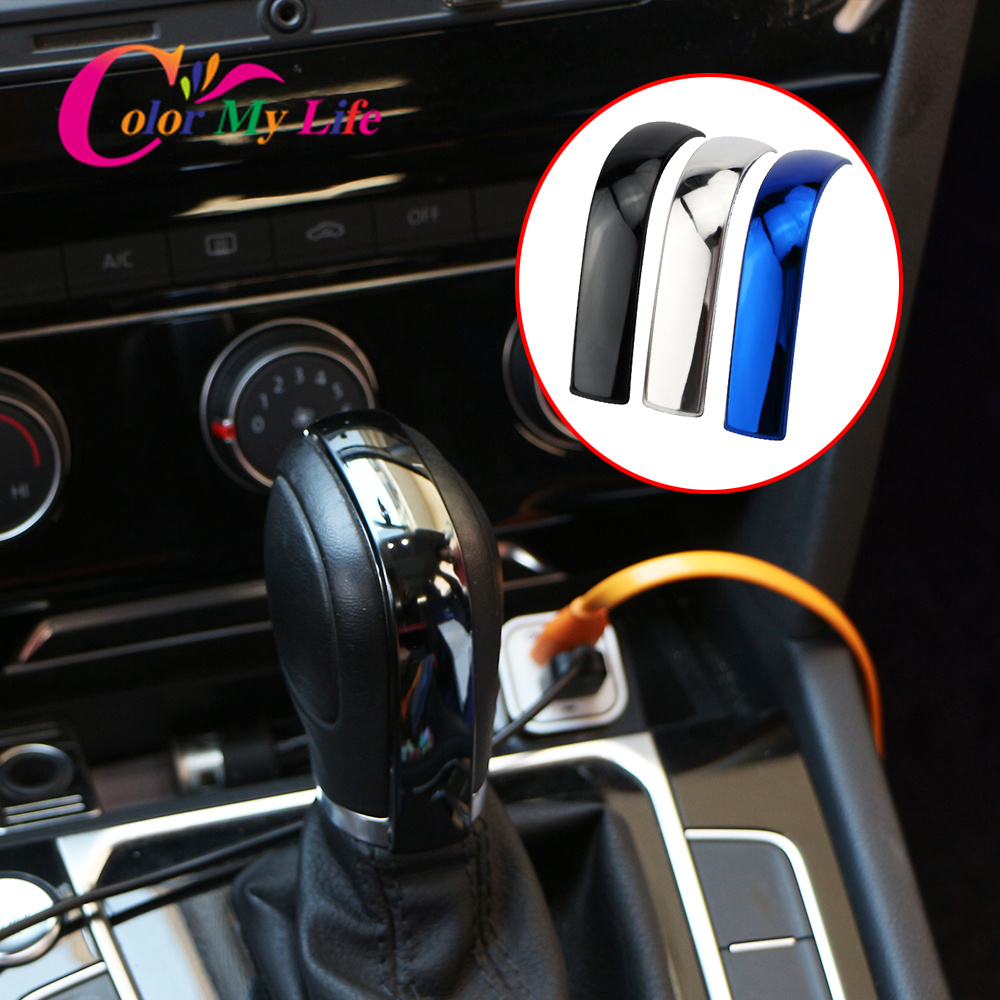 Color My Life Stainless Steel Car Gear Head Shift Knob Trim Sticker for Volkswagen VW Golf 6 7 MK6 MK7 Tiguan Polo Accessroies image