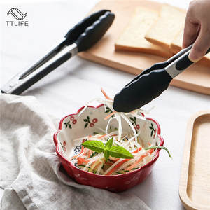 TTLIFE Silicone Kitchen Cooking Salad Serving BBQ Tongs Stainless Steel Handle Utensil Barbeque Tongs Food Clip Random Color New