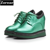 {Zorssar} high quality Genuine Leather women shoes wedges High Heels lace up fashion platform pumps womens creeper shoes green