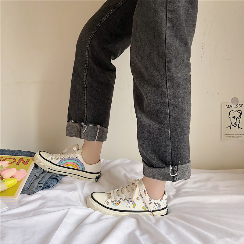 HKJL Fashion Rainbow unicorn canvas shoes for women spring 2019 new student Japanese hand painted Korean version A552 in Women 39 s Vulcanize Shoes from Shoes