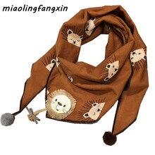 Осенне-зимний детский шарф, модный шарф для девочек с рисунком льва и треугольника, одежда для маленьких мальчиков, детский шарф