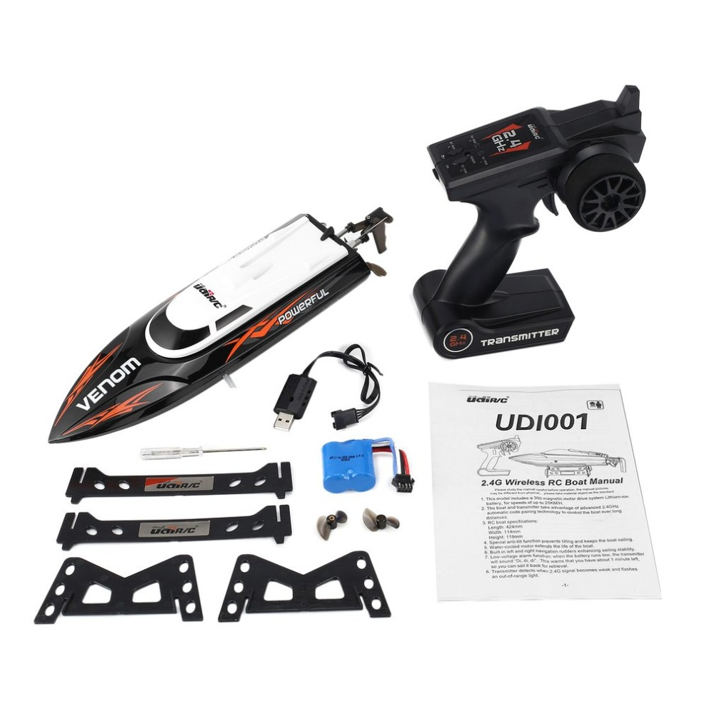 OCDAY UDI001 20km/h 2.4G Brushed High Speed RC Remote Control Racing Boat Speedboat Ship with Water Cooling System Self-righting