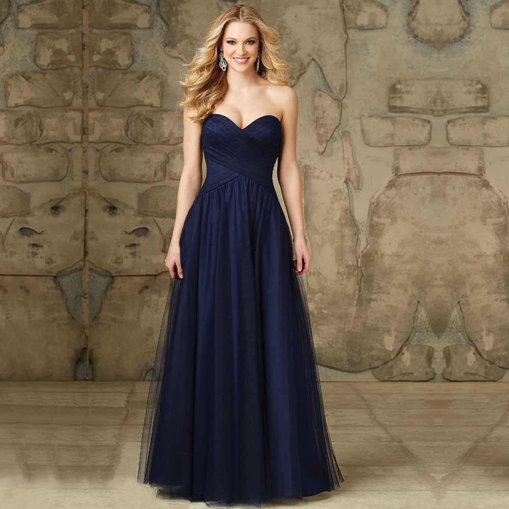 Elegant a line tulle navy blue prom dresses fashion simple for Navy blue dresses for weddings
