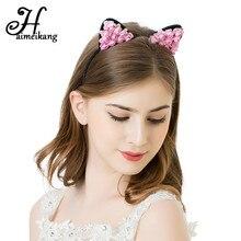 Hairmeikang Cat Ears Hair Hoop Small Devil Cat Headbands Paper Flower Cats Ears Hair Bands Headdress Girls Kids Hair Accessories