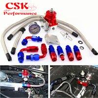 Adjustable Fuel Pressure Regulator Gauge Kit AN6 Fitting End Universal Black/Blue