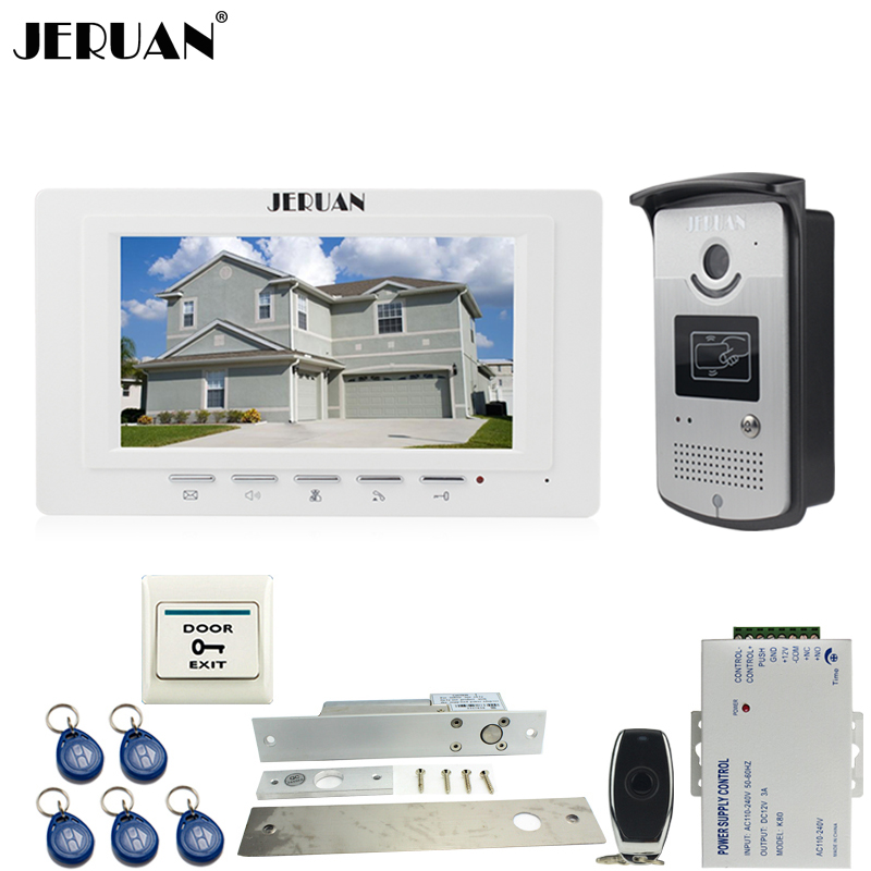 JERUAN new 7`` LCD  Video Door Phone System 700TVT Camera access Control System+Electric Drop Bolt lock+Remote control Unlock jeruan black 8 lcd video door phone system 700tvt camera access control system cathode lock remote control 8gb card