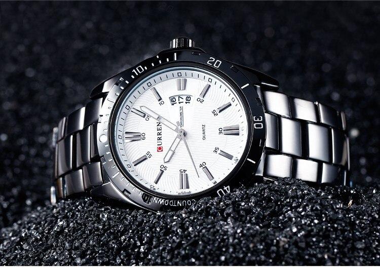 Mens Watches Top Luxury Brand CURREN 18 Men Full Steel Watches Quartz Watch Analog Waterproof Sports Army Military WristWatch 19