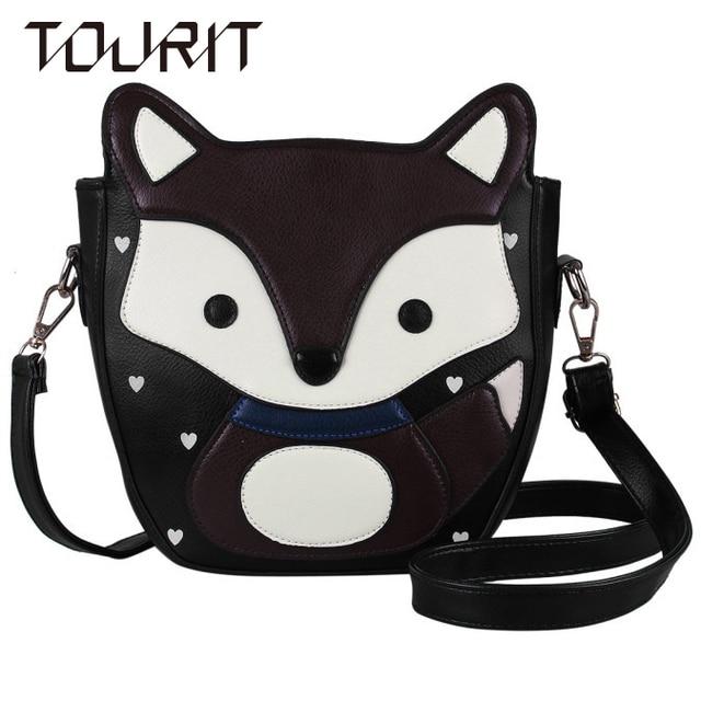 TOURIT Primavera da Coréia Do Estilo Mulheres Messenger Bags Adorável Lindo Bolsas de Sacos de Ombro de Couro De Raposa Mulheres