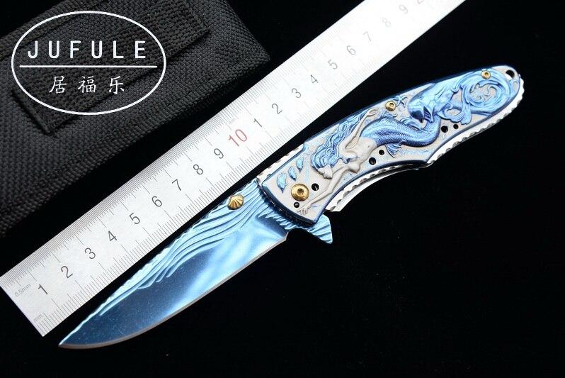 JUFULE Original design Blue anodized folding camping hunt pocket Survival EDC tools Tactical outdoor flipper 3507 kitchen knife