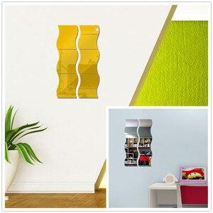 Image 5 - Nieuwe 6 PCS DIY Verwisselbare Huis Kamer Muur Spiegel Sticker Art Vinyl Mural Decor Decal Muur Sticker vinilos decorativos para paredes