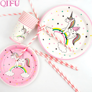 Image 4 - QIFU Единорог товары для вечеринок одноразовая посуда единорог украшение для дня рождения первый мой маленький пони день рождения девочка мальчик Единорог