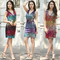 2017 DressSummer New Style Women S Dress European Fashion Cocktail Party Party Colour Sequins Dress Women