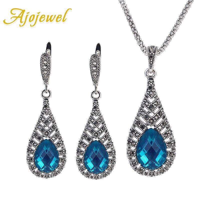 Ajojewel Official Store Ajojewel Romantic Water Drop Pendant Blue Austrian Crystal Jewelry Set For Women Black CZ Wedding Jewelry Sets