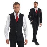 Custom Made Slim Fit Black Groom Tuxedos Tailcoat Best Man Suit Wedding Grooms 3 Piece Suits Groom Wear (Jacket+Vest+Pants) Y323
