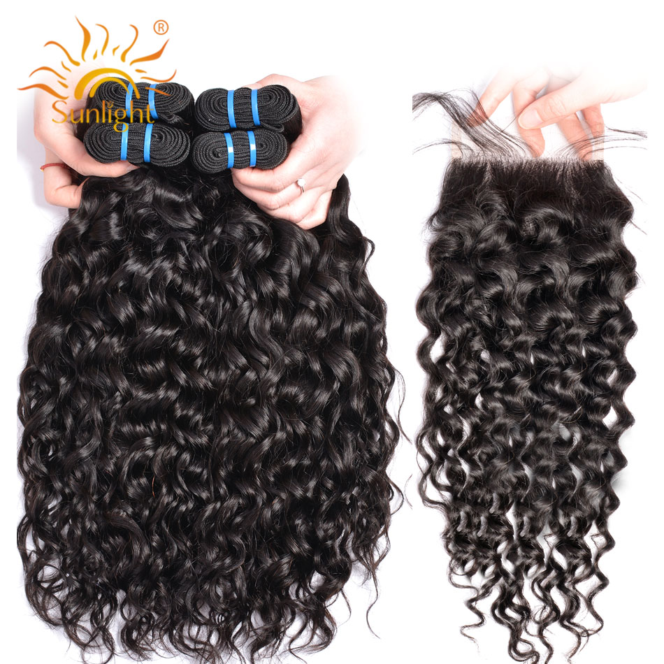 Brazilian Water Wave Bundles With Closure 4 Bundles Deal With Closure Sunlight Human Hair Weave Bundles
