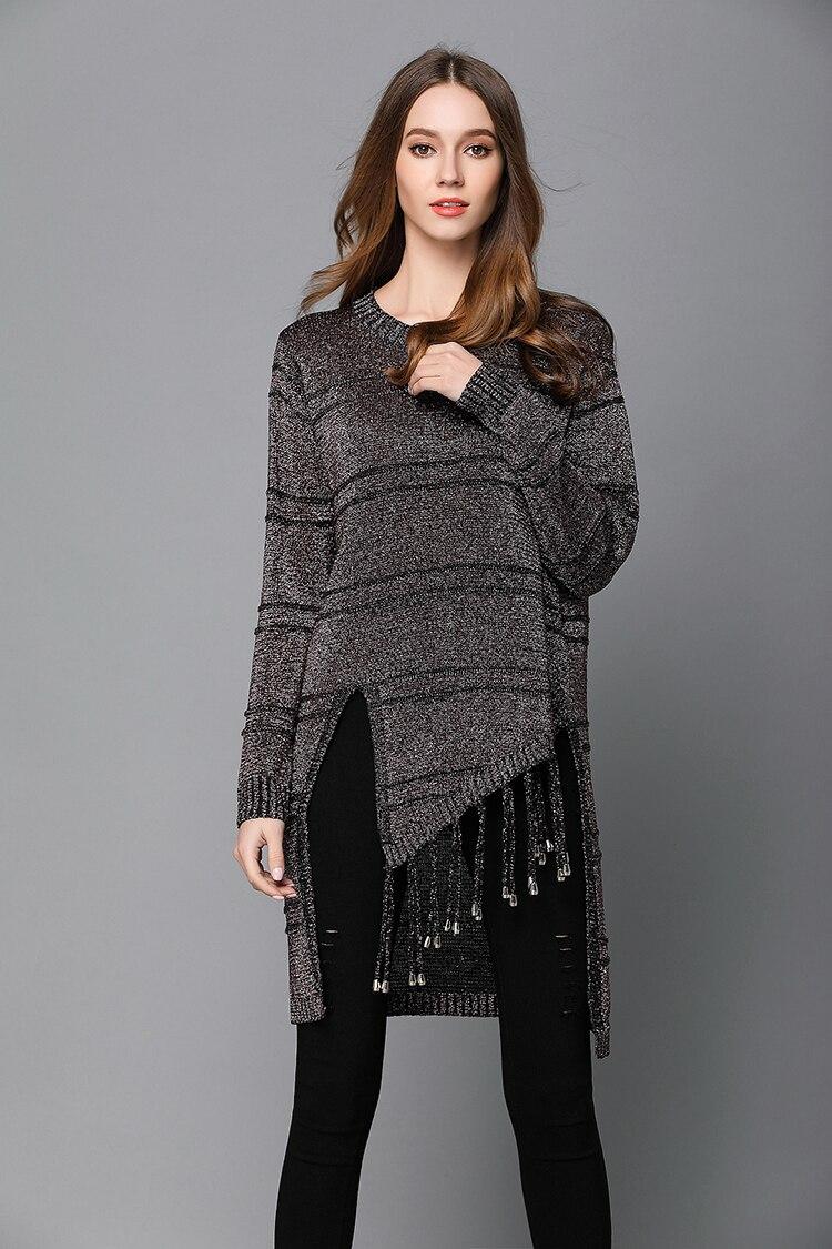 BLINGSTORY Europe Winter Asymmetrical Design Women Autumn Pullover Tassel Long Sweater NS5109N