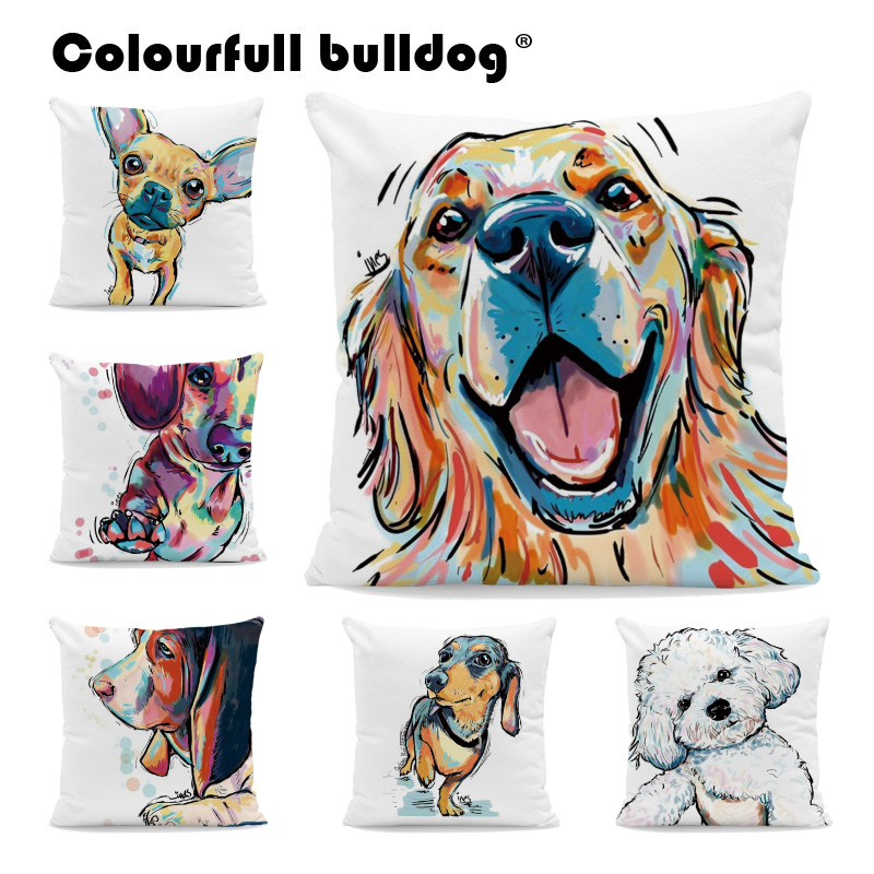 Watercolor Chihuahua French Bulldog Throw Pillows Dachshund Shih Tzu Cushion Cases Golden Retriever Pillow Covers Kid Room Decor